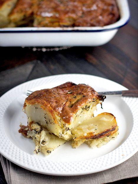 Tori's Passover Potluck 2015 - Gluten Free Potato Kugel Gratin from Meg van der Kruik, Beard + Bonnet. Gluten Free, Dairy Free, Kosher for Passover. #PassoverPotluck