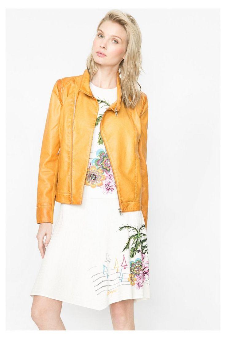 Mustard yellow faux leather jacket | Desigual.com B