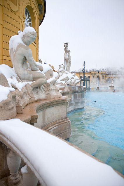 Hungary - Budapest - Szechenyi Baths at winter.