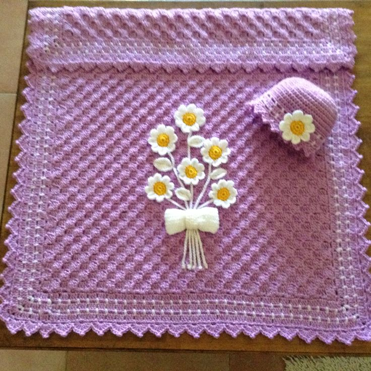 Daisy c2c blanket and hat