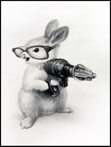 Adorable, but a little creepy. Hey there bunny! I love your cute widdle way-gun!