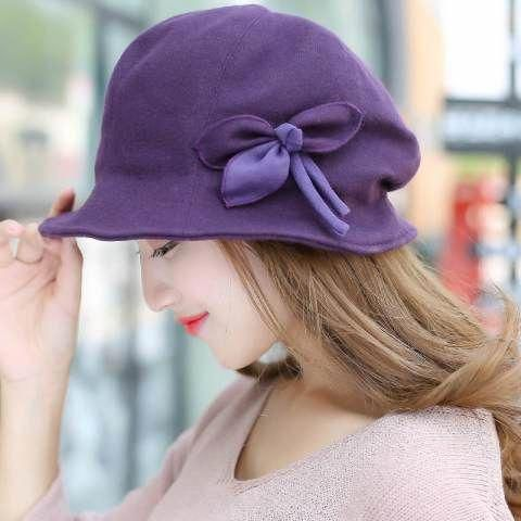 Autumn winter flower bucket hats for women fashion casual warm wool hats   womensfallfashioncasualhats 349ab73ac24