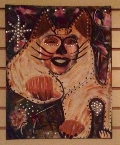 Original raw outsider folk art abstract Cat brut naive portrait Georgia Rose in Art, Direct from the Artist, Paintings | eBay