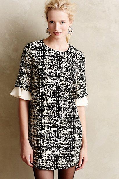 tweed ruffle sleeve dress - 20% off today! #anthrofave