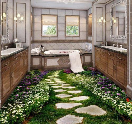 Brilliant 3D Floor Designs To Make A Small Bathroom Look BIGGER