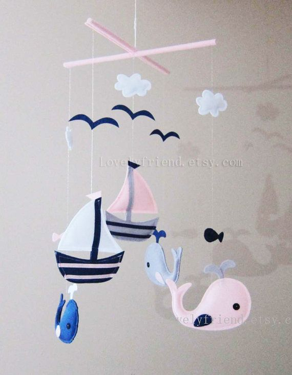 "Baby Mobile - Sailboats and Whales Crib Mobile - ""Baby Girl Navy "" - Handmade…"