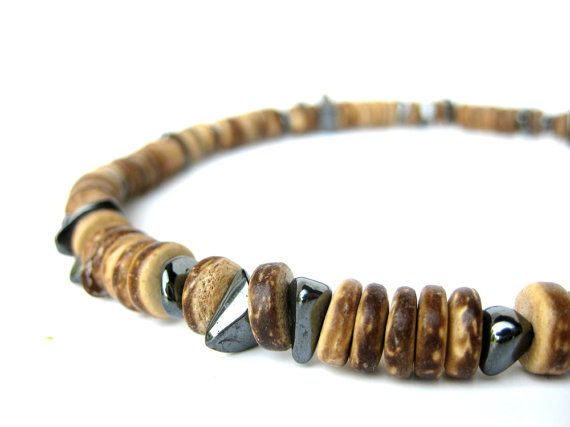Men's Jewelry – Wood necklace for men handmade from hematite and wood bead n…   – Fashion man