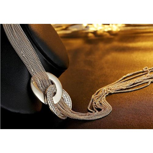 Sweater Chains For Women Genteel Genuine White Gold Plated Crystal Jewelry