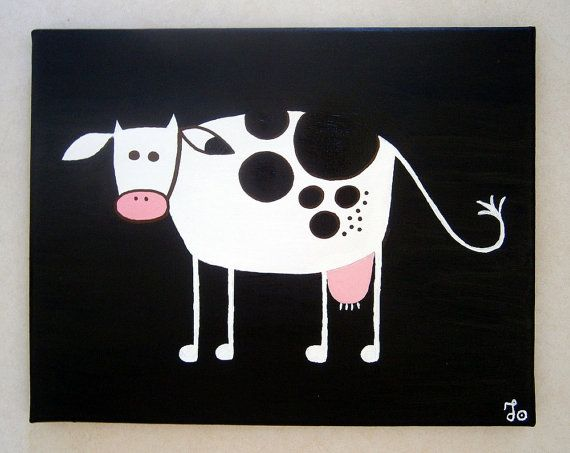 Goth Cow ~ Acrylic painting on canvas by MadCowzArt on Etsy, €15.00  Cow Art