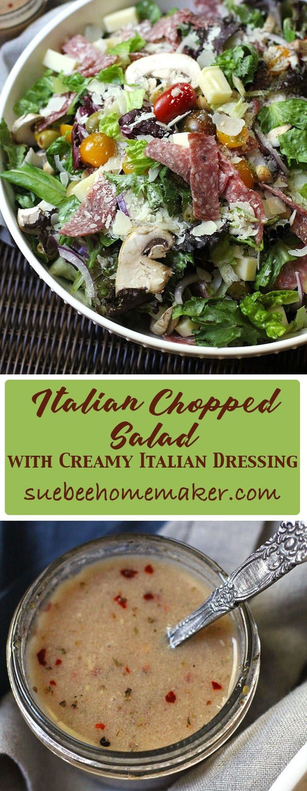 Making a large interesting Italian Chopped Salad at the start of the week will encourage healthy eating all week long. My Creamy Italian Dressing is a must!