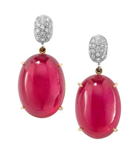 Faraone Mennella: Ruby Cabochons earrings with pave' diamond, yellow and white 18kt Gold