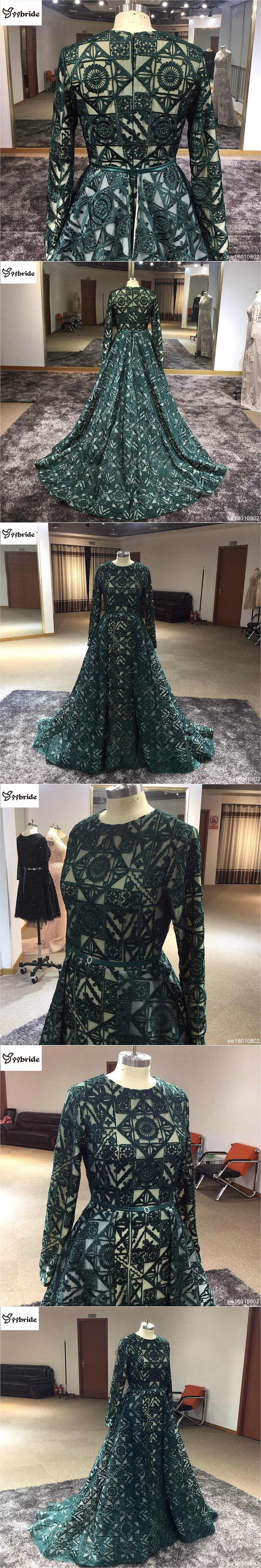Real Sample Dubai Fashion Dark Green Long Evening Gowns Caftan Abaya In Dubai Long Sleeve Arabic Dress Muslim Evening Dress