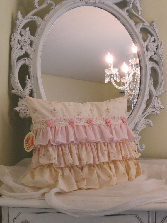 Sweet 'n' shabby pillow in pink and pale by BrambleWoodANDivy