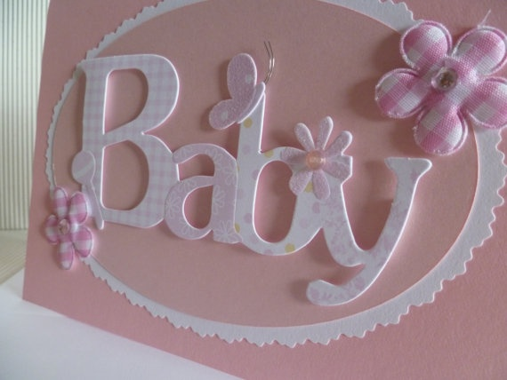 Beautiful Pink New Baby Girl Card  by LizFelgateCrafts on Etsy, $3.99
