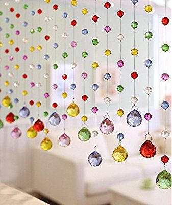 Fushing 5Pcs 1ft Multicoloured Crystal Ball Pendant Chandelier Prisms Parts Beads Strands For Home Party Wedding Christmas Decoration (1ft, Five Color)