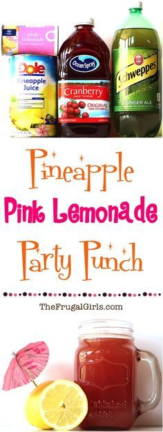 Pineapple Pink Lemonade Party Punch! ~ from TheFrugalGirls.com ~ the perfect punch for your parties, showers, and weddings! Easy and SO delicious!!