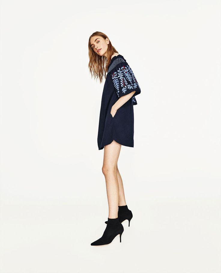 DRESS WITH EMBROIDERED SLEEVES-ROBES-FEMME   ZARA France
