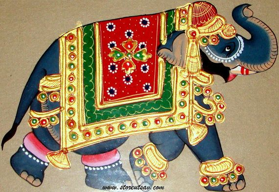 Royal Elephant Mysore Painting from Karnataka in South India by Store Utsav features on Etsy Treasury 'TREASURE HUNTING...FABULOUS ETSY FINDS!!!' (https://www.etsy.com/treasury/MjI3OTQ5Mjl8MjcyNTg5Mjg0MA/treasure-huntingfabulous-etsy-finds) by Loli from Jewel2Jewel (https://www.etsy.com/in-en/shop/Jewel2Jewel). Do check out her beautiful jewelry shop and the lovely treasury!
