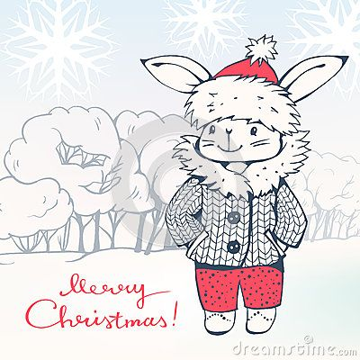 Greeting Card Merry Christmas! with a cartoon Bunny. Hand-drawn illustration. Vector.
