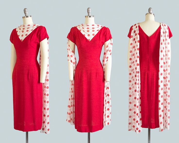 Vintage 1950s 1960s Dress   50s 60s LILLI DIAMOND Red Linen Wiggle Cocktail Party Dress with Polka Dot Chiffon Waterfall Trains (small) by BirthdayLifeVintage on Etsy https://www.etsy.com/ca/listing/562768659/vintage-1950s-1960s-dress-50s-60s-lilli