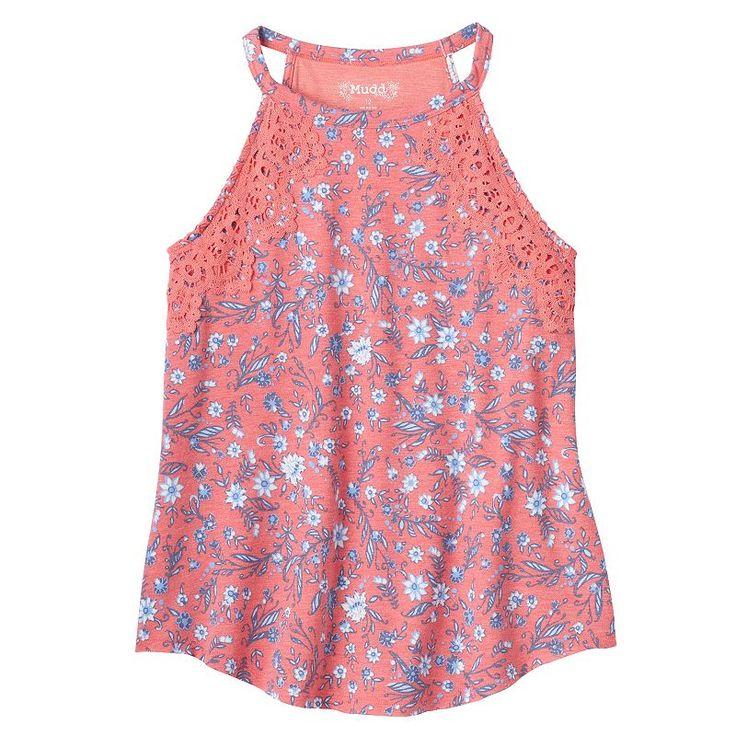 Girls 7-16 & Plus Size Mudd® Crochet Floral Highneck Tank Top, Girl's, Size: 14 1/2, Lt Orange