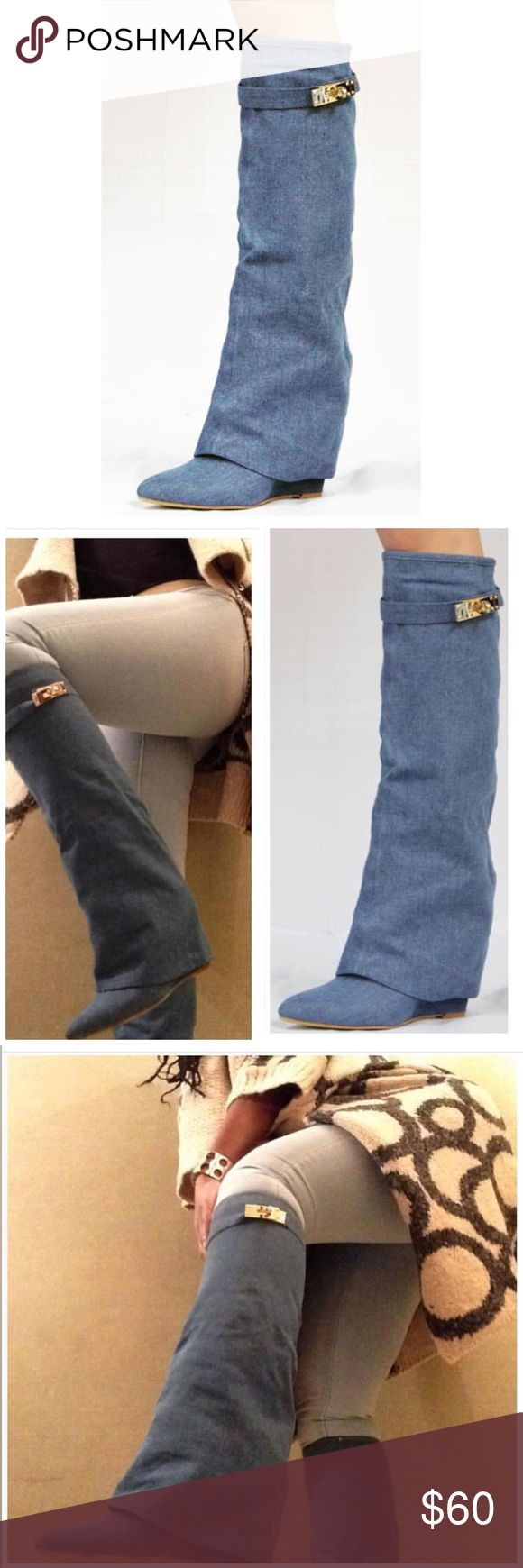 """Denim wedge boots 3"""" heel denim pull on wedge heel boots. Gold hardware. True to size Shoes Wedges"""