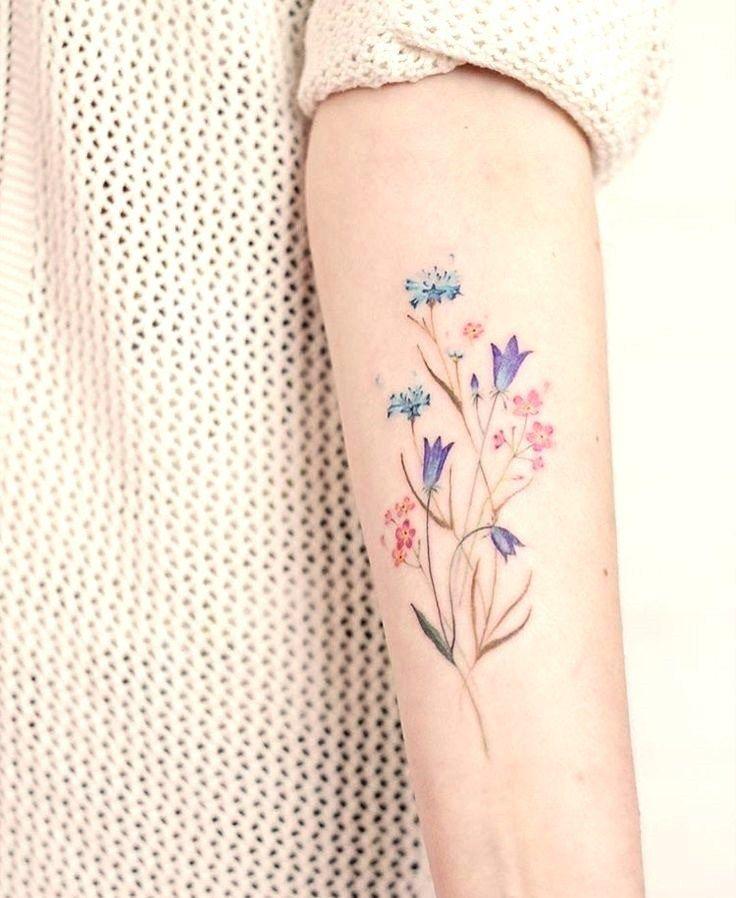 Simple Floral Tattoos Tatuagem De Flores Em Aquarela Tatuagem De Flor Colorida Tatuagem De Flor No Antebraco