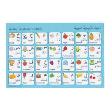 Arabic Alphabet Placemat for kids - kitchen gifts diy ideas decor special unique individual customized