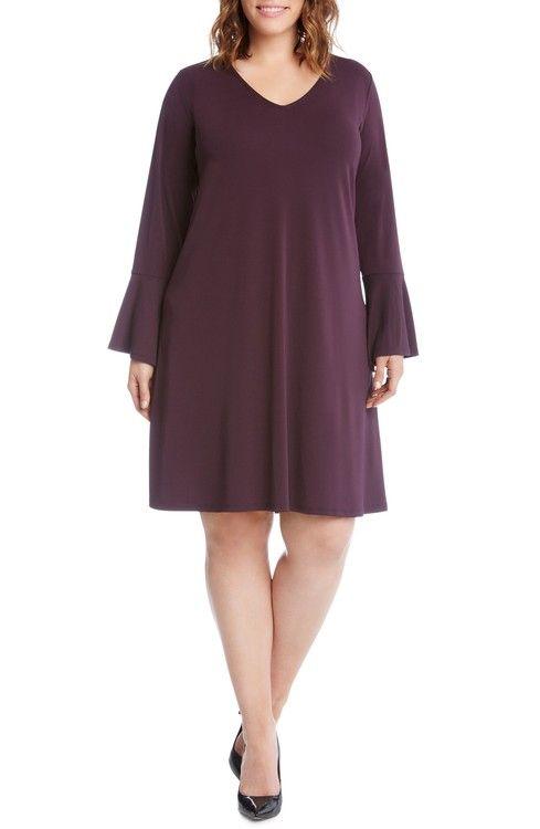Main Image - Karen Kane Taylor Bell Sleeve A-Line Dress (Plus Size)