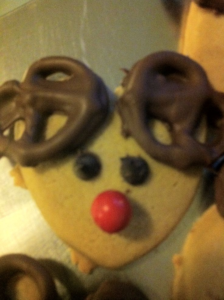 Red nose reindeer cookie