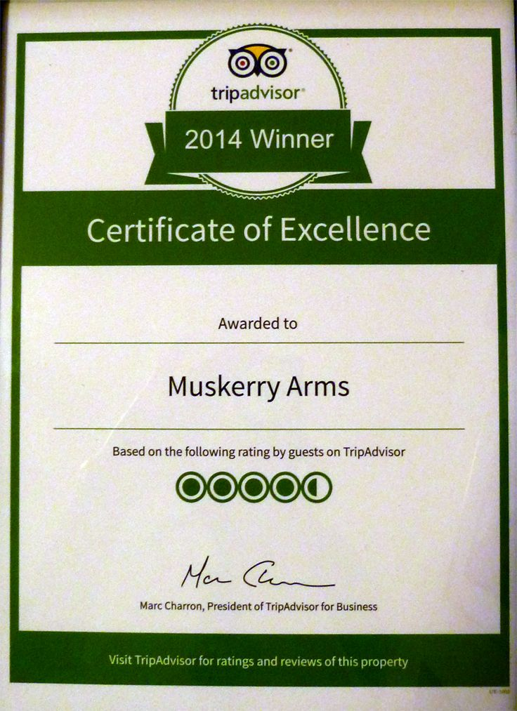 We are delighted to received the TripAdvisor Certificate of Excellence for 2014. This means a lot because we value the reviews our customers take the time to give us. Thank you.