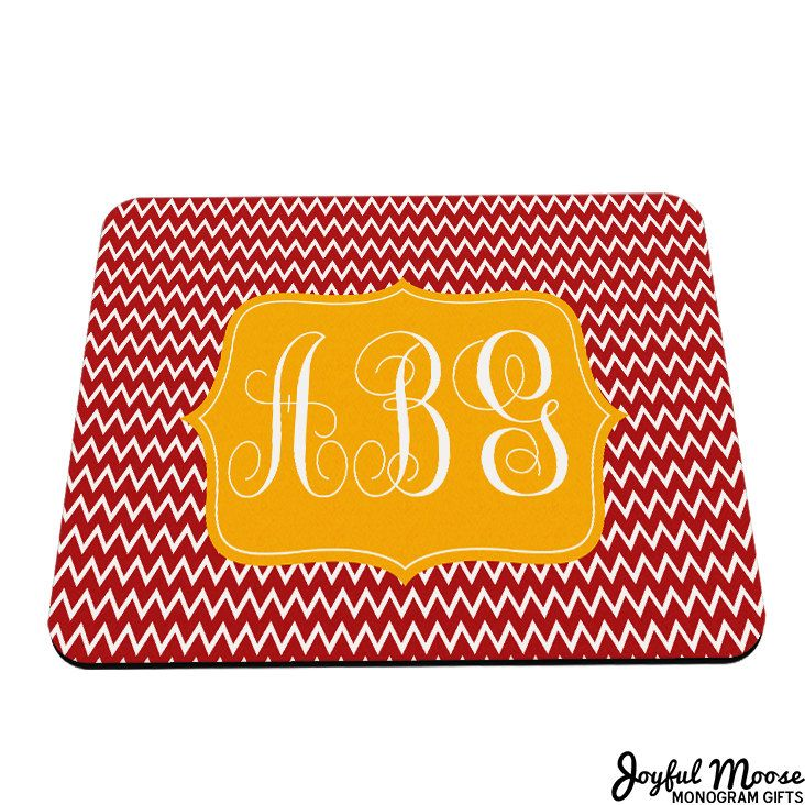 New to JoyfulMoose on Etsy: Personalized Mouse Pad - Monogram Mousepad - Chevron Mouse Pad - Monogram Gift for her - Personalized Gifts (9.50 USD)