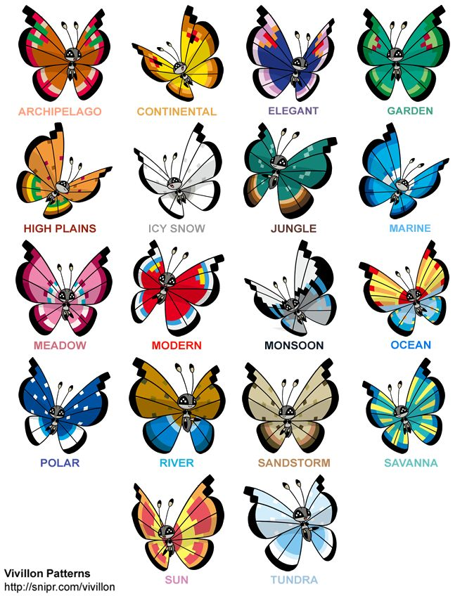 I love Vivillon because of all these cool patterns! :) ...What's really hard is trying to get all of them via the GTS.... :(