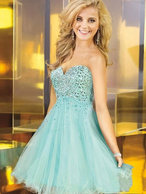 A-line Sweetheart Tulle Satin Short/Mini Sequins Homecoming Dresses