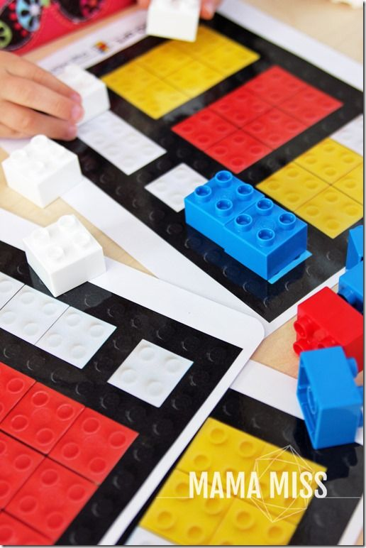Piet Mondrian LEGO art   @mamamissblog - Introduce fine art to your kids in a fun way - with these inventive Piet Mondrian LEGO art printable cards. Teach through play - the best way to learn!