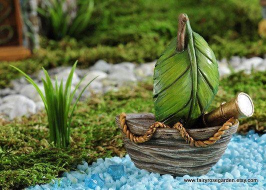 Fairy Boat   Fairy Garden Accessories   Fairy House   Miniature Boat    Pirate Boat