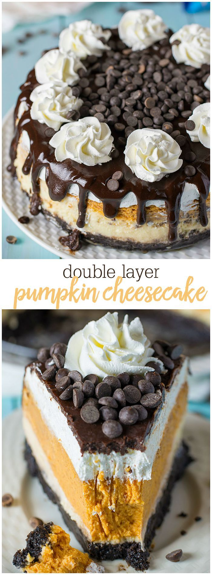 Double Layer Pumpkin Cheesecake- Rich decadent pumpkin flavored cheesecake with an Oreo crust. Sub GF Oreos