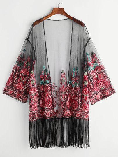 sous kimono brodé à franges avec maille - noir