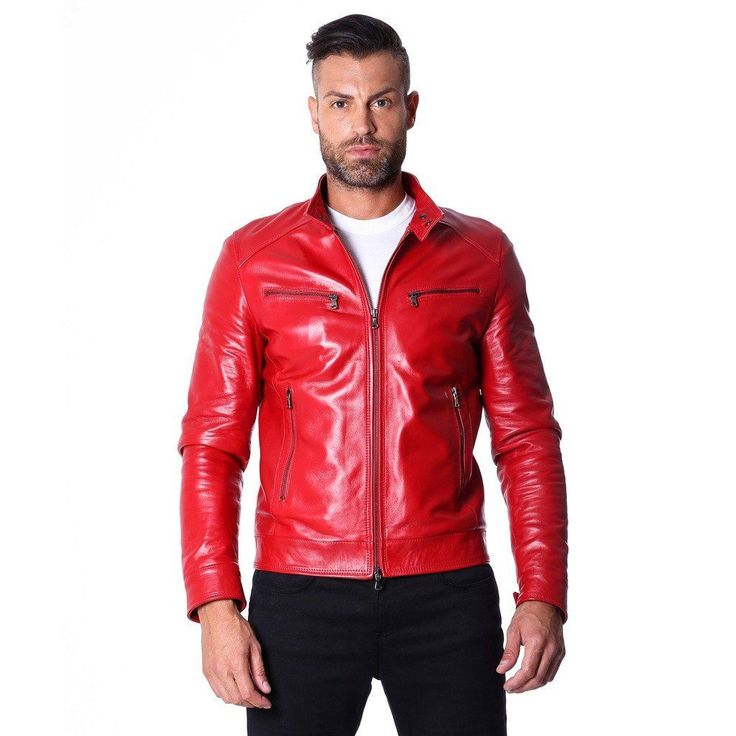 Men's Genuine Leather Biker Jacket red Color  #fashion #swag #style #stylish #socialenvy #PleaseForgiveMe #me #swagger #photooftheday #jacket #hair #pants #shirt #handsome #cool #polo #swagg #guy #boy #boys #man #model #tshirt #shoes #sneakers #styles #jeans #fresh #dope