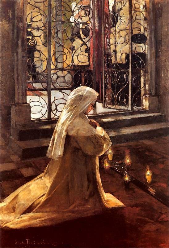 nun praying in church, Olga Boznanska. Polish (1865 - 1945)
