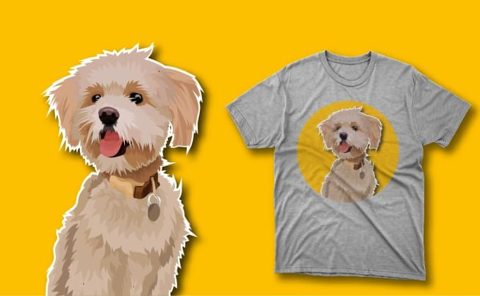 For Only 5 I Will Drawing Vector Cartoon Pets Into A Tshirt Design For Your Business In 24 Hour You Just Need To Send Me Y In 2020 Cartoon Animals Dog Vector Pets