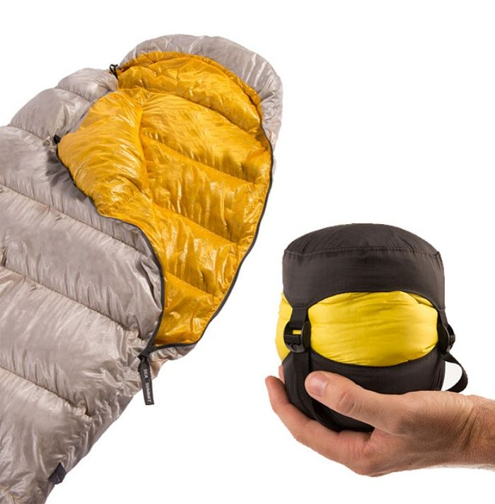 A sleeping bag that compresses down to nothing!  When space is an issue, check this out! #Camping #Hiking #outdoors