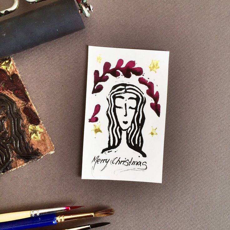 Linocut label for gifts