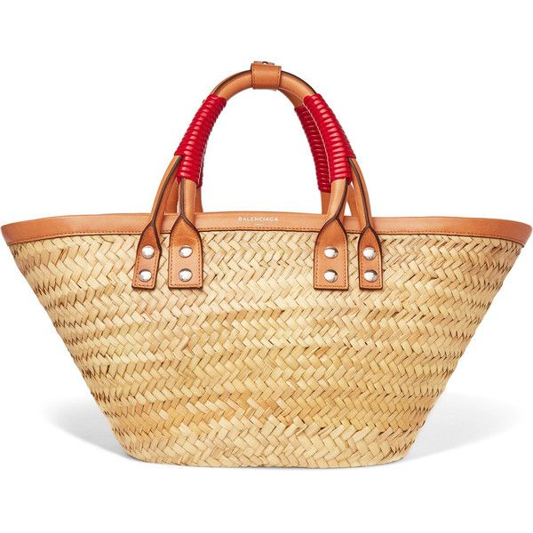 Balenciaga Bistrot Panier leather-trimmed woven raffia tote (4.040 RON) ❤ liked on Polyvore featuring bags, handbags, tote bags, beige, beige tote, woven tote, balenciaga tote bag, woven beach tote and woven handbags
