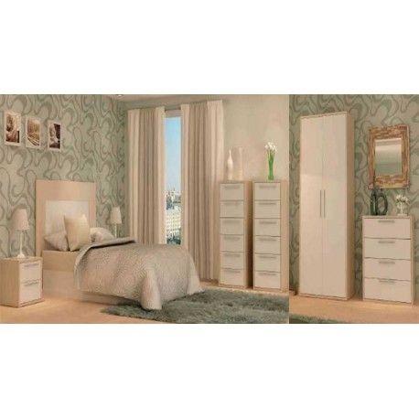 Conjunto matrimonio blanco y olmo modelo Nube compuesto por un armario de dos puertas acompañado de dos mesitas con dos cajones,un cabezal para la cama y un sinfonier a juego todo fabricado en aglomerado melaminizado.