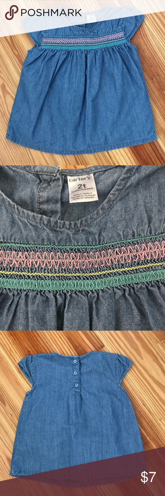 Denim Smocked Top Old Navy denim top with Smocked detail. Size 2T Old Navy Shirts & Tops
