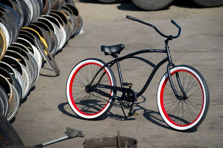 OLD SKOOL - - Men's Beach Cruiser, Old Skool Bicycle, Custom Cruisers for Men - flat black / r