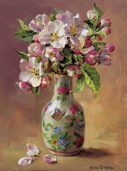 Apple Blossom in a Perfume Bottle | Mill House Fine Art – Publishers of Anne Cotterill Flower Art