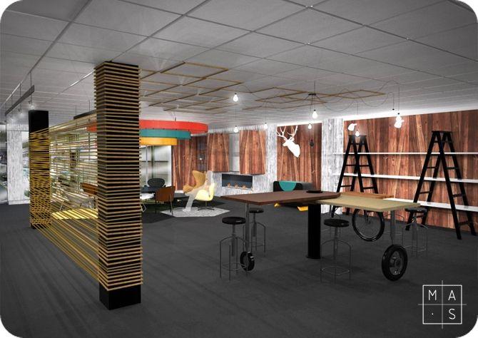 Proyecto de interiorismo para las oficinas de uniter etiquetas por mas arquitectura en una nave - Mobiliario oficina coruna ...