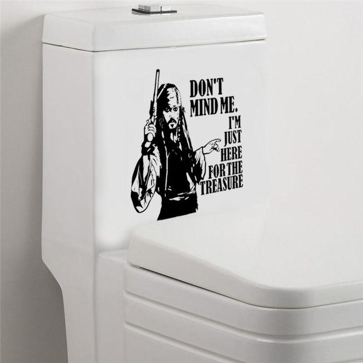 Jack Sparrow | Toilet Tattoo | Here for the Treasure Vinyl Decal | Bathroom Decor